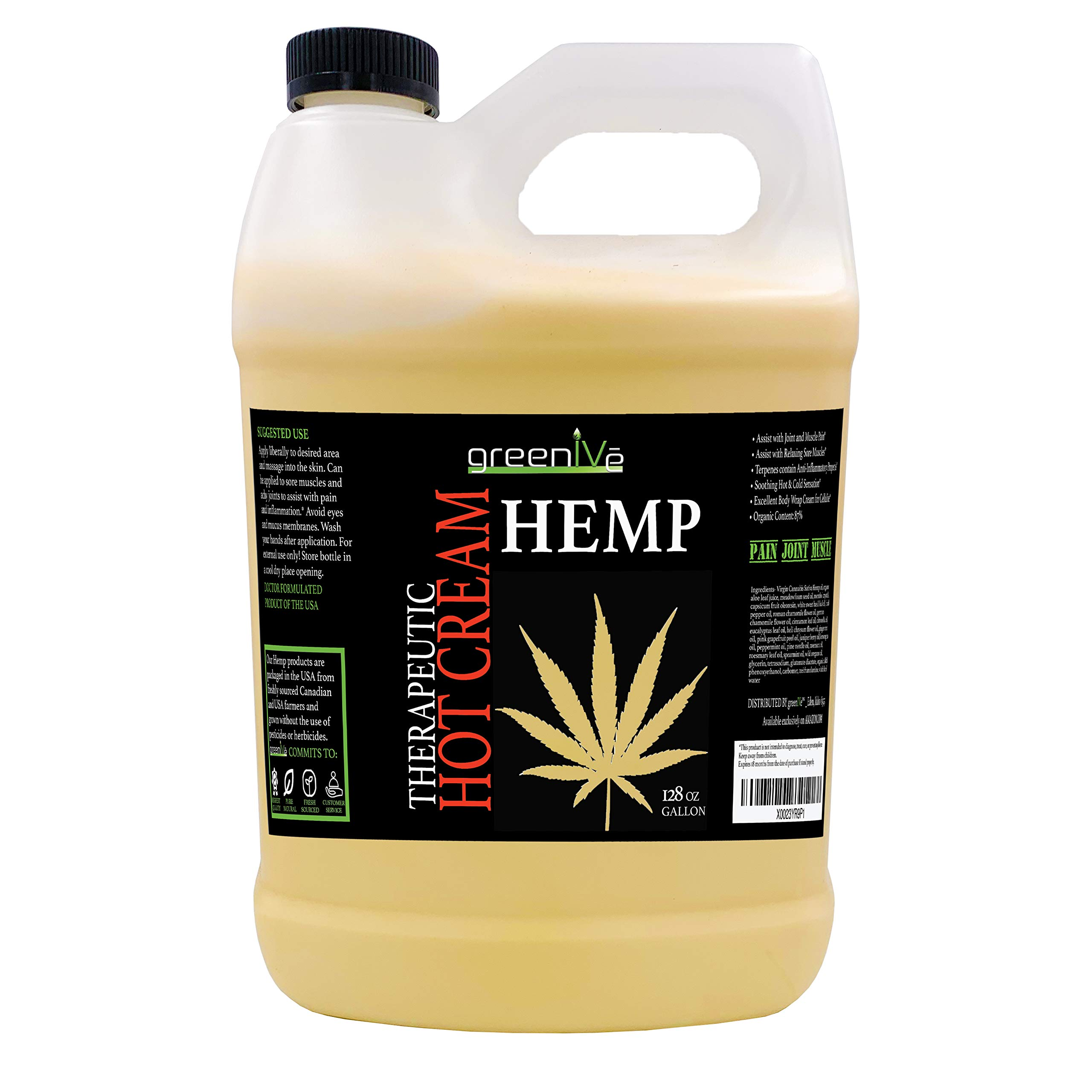 GreenIVe Hemp Hot Cream Soothing Moisturizing Hemp Hot Cream Exclusively on Amazon (128 oz (1 Gallon))
