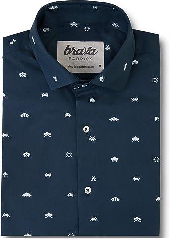 Brava Fabrics - Camisa Hombre Manga Larga Estampada - Camisa Azul para Hombre - Camisa Casual Regular Fit - 100% Algodón - Modelo Arcade: Amazon.es: Ropa y accesorios