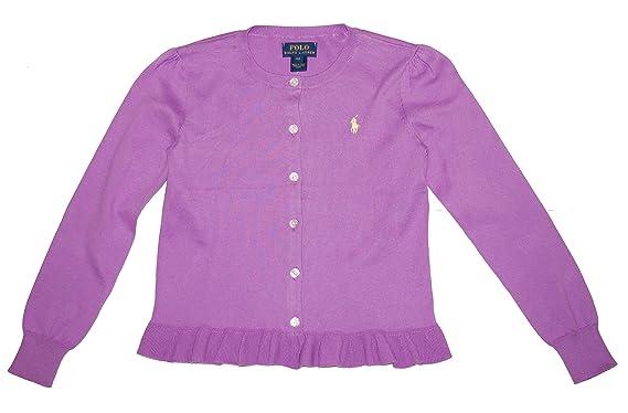 e4a2e7935 Amazon.com  RALPH LAUREN Polo Girls Ruffled Cardigan Sweater (Large ...