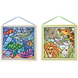 Melissa & Doug Stained Glass Made Easy Activity Kits Set: Ocean and Safari - 190+ Stickers, 2 Frames