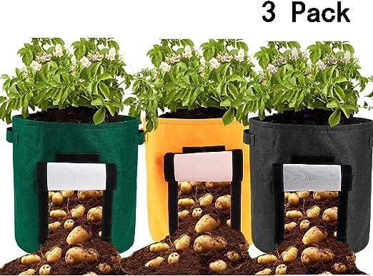 JYCRA Bolsas de Cultivo de Patatas de 10 galones, 3 Paquetes de ...