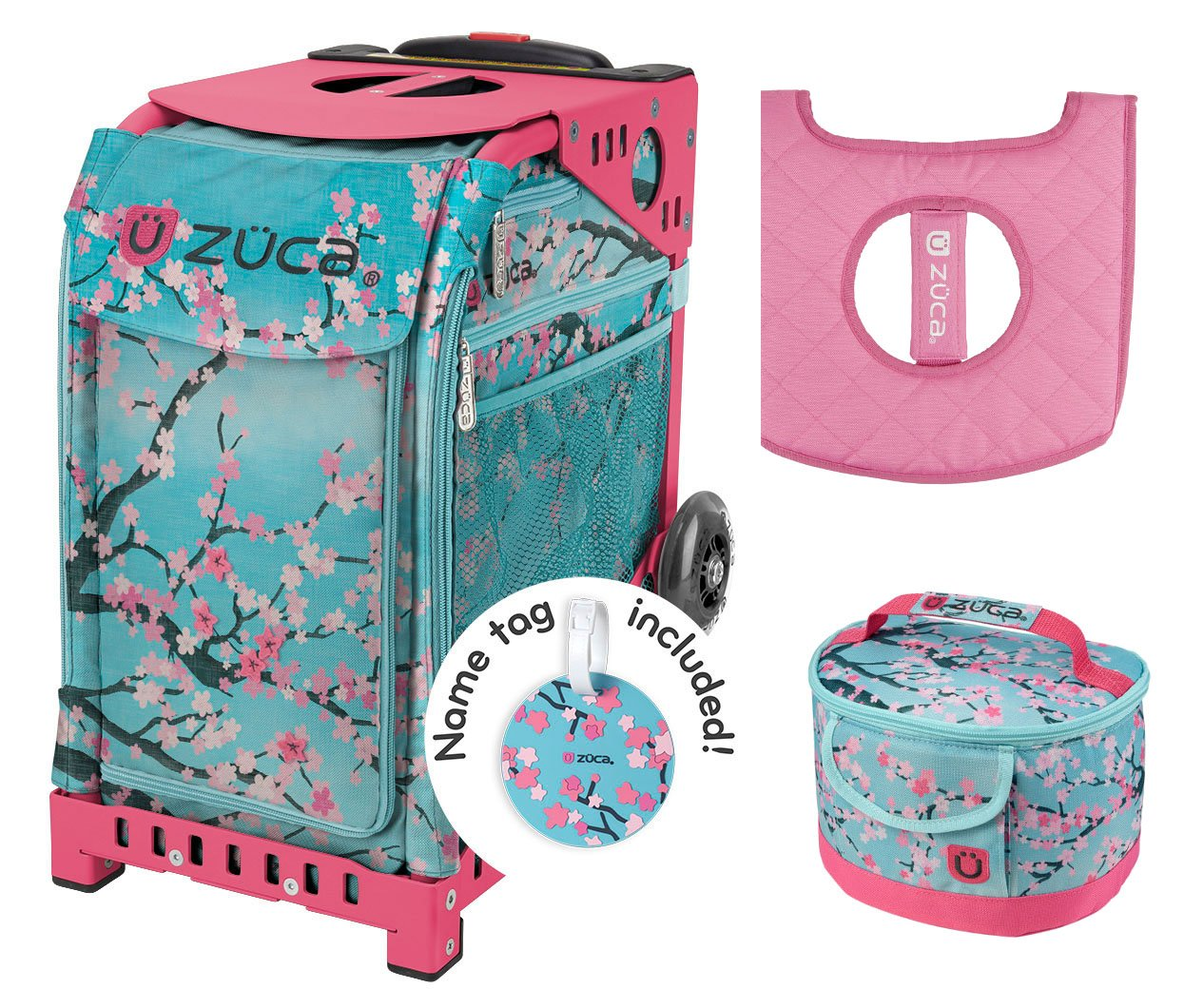 Zuca Sport Bag - Hanami with Gift Lunchbox and Seat Cover (Pink Frame) by ZUCA
