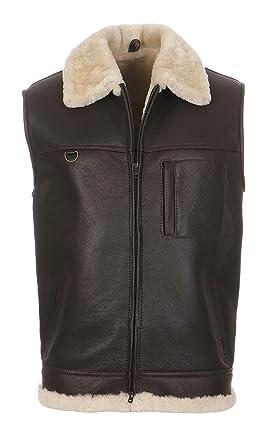 d05c736c9bf1e8 Hollert German Leather Fashion Lammfellweste - FIRMINIUS mit Kragen Herren  Weste aus hochwertigem Merino Lammfell und