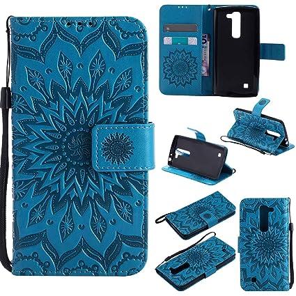 pinlu Flip Funda de Cuero para LG G4c(5 pollice)/LG Magna Carcasa con Función de Stent y Ranuras con Patrón de Girasol Cover (Azul)
