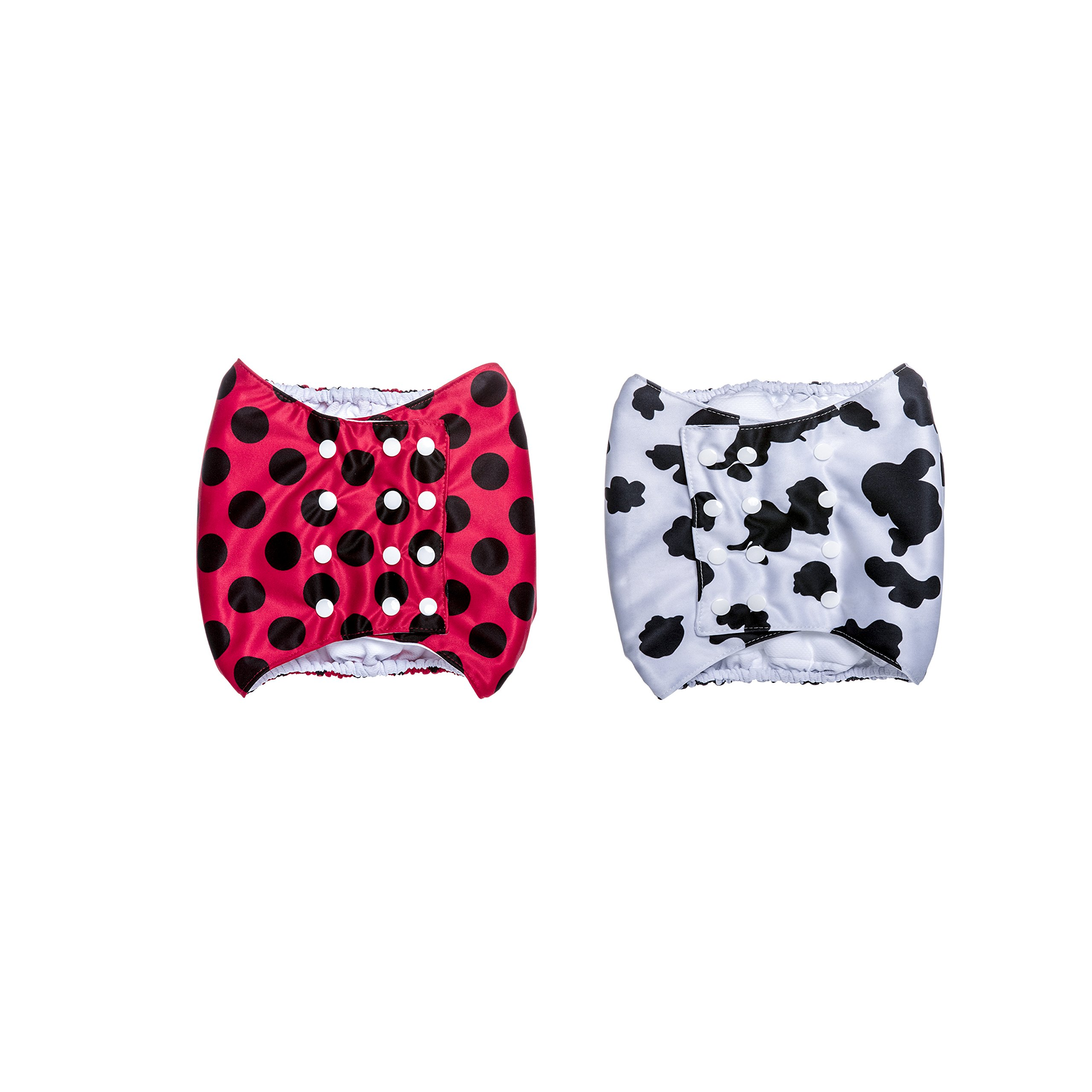 Brooke's Best Belly Bands for Male Dogs 2 pack (L, Red with Black Dots/ Cow print)