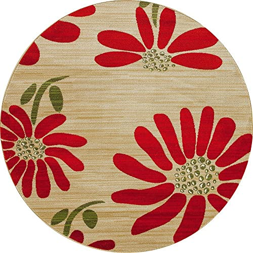 Art Carpet Antigua Collection Spring Daisy Woven Round Area Rug, 5 , Yellow Red Green