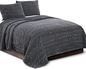 KASENTEX Ultra Soft Stone-Washed Quilt Set 100% Cotton Contemporary Stitched Floral Design Bedspread Lightweight Comforter Coverlet Bedding w/Pillow Cover Shams, Queen Size, Charcoal Grey
