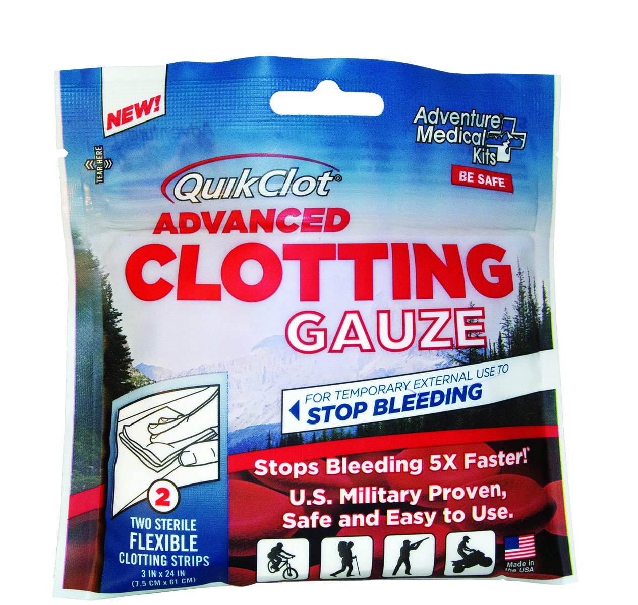 QuikClot Advanced Clotting Gauze - 3 x 24 in (Pack of 2) by QuikClot