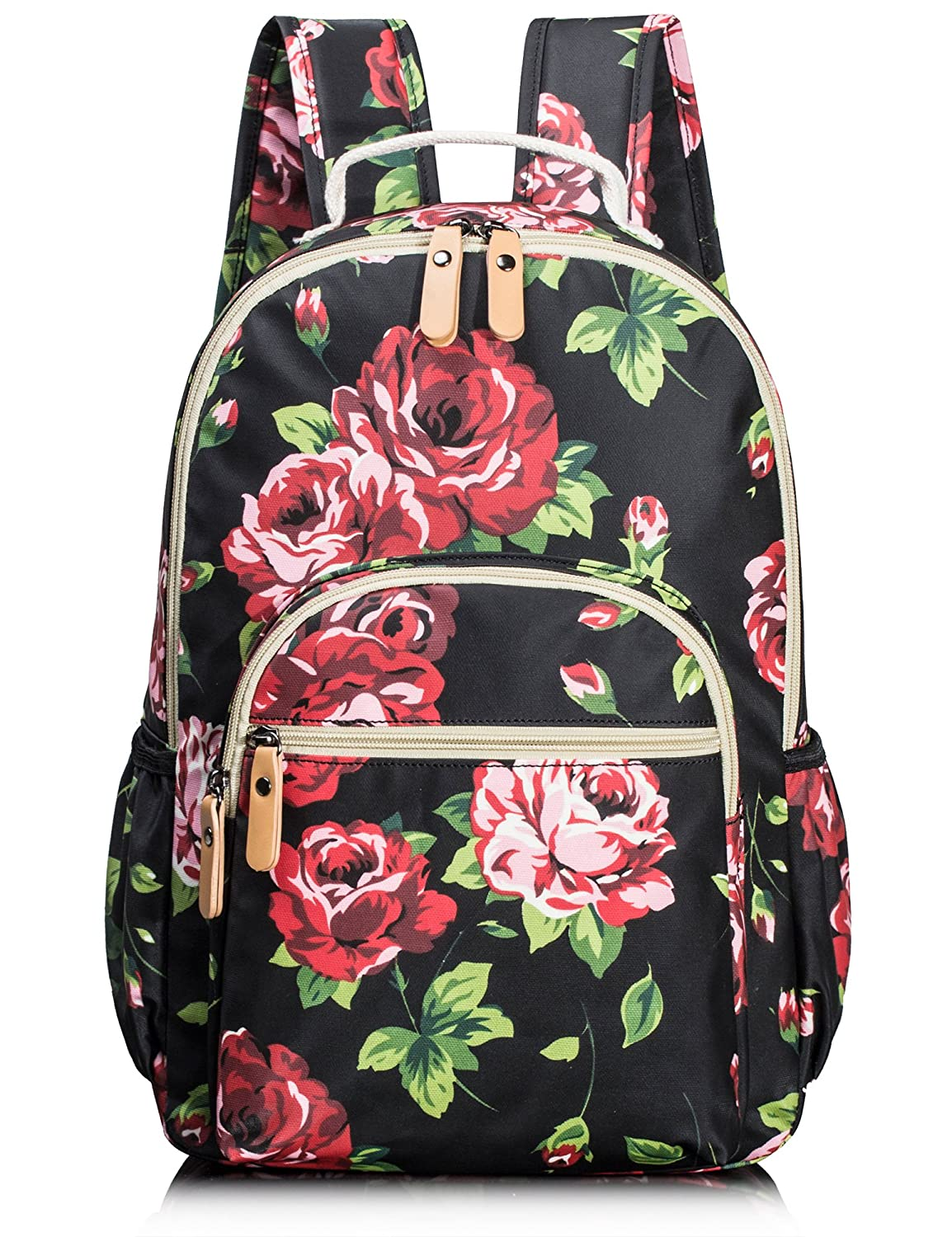 School Bookbags for Girls, Cute Floral Water-Resistant Laptop Backpack College Bags Light Daypack by Leaper (Floral Black) Fifth Season BP4677