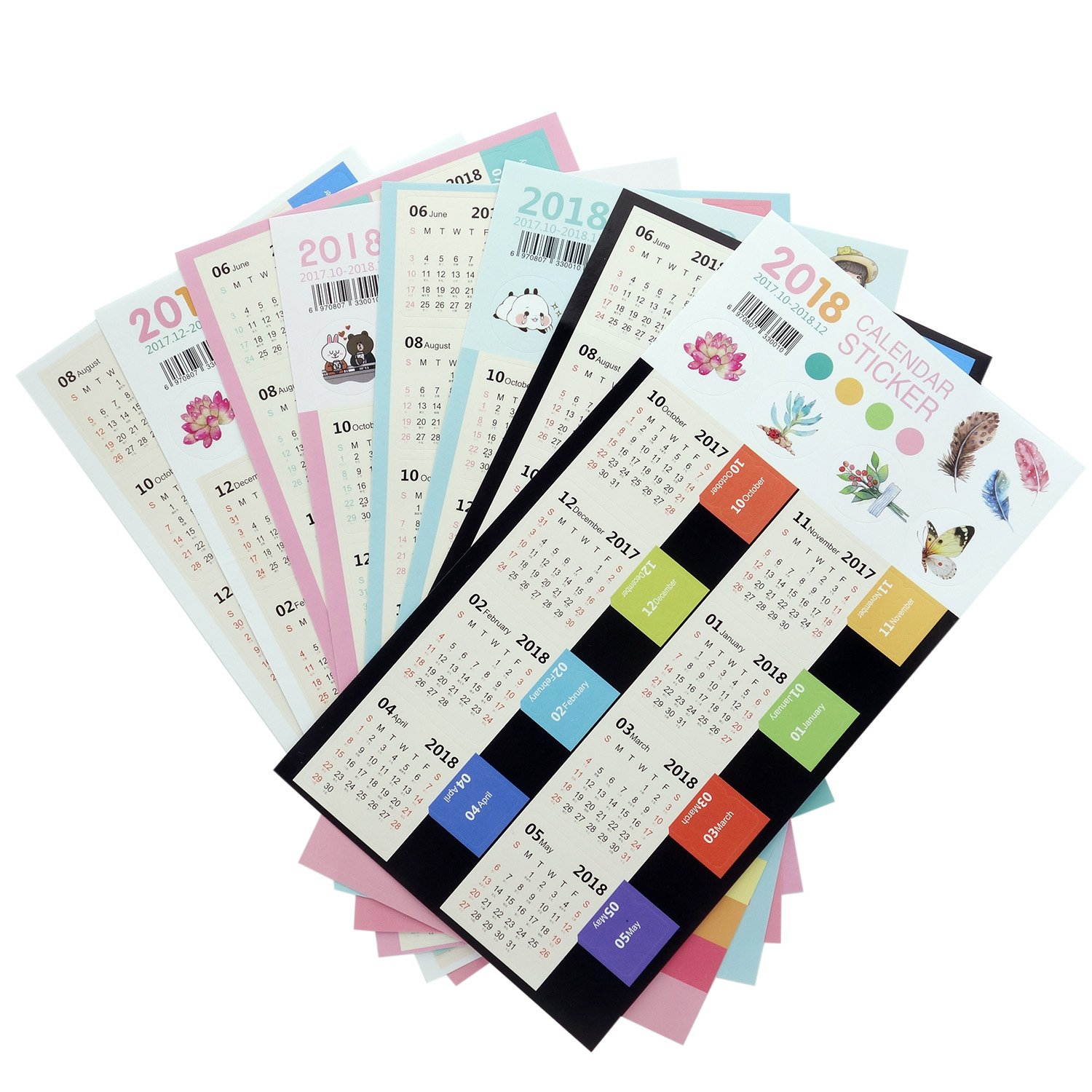 D-worthy 4 Sets 2018 Calendars Stickers Monthly Index Dividers,Self Adhesive Tabs, for Bullet Journal/Planners/Agenda, from October 2017 to December 2018