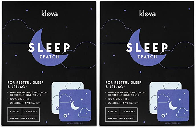 Klova Sleep Patch with Melatonin and Natural Ingredients Promotes restful Sleep and eliminates Jet lag (2 Pack (56 Patches))