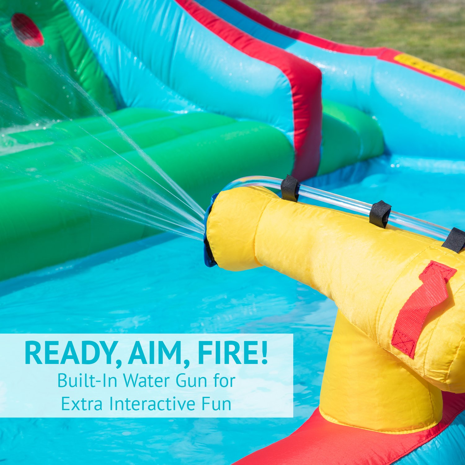 Deluxe Inflatable Water Slide Park – Heavy-Duty Nylon Bouncy Station for Outdoor Fun - Climbing Wall, Two Slides & Splash Pool – Easy to Set Up & Inflate with Included Air Pump & Carrying Case by Sunny & Fun (Image #4)