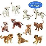 Toymany 11 Safari Animal Figurines, High Emulational Detailed Baby Zoo Animals Figure, Assorted Lions Tigers Cheetahs Lynx Figurine Toy Set