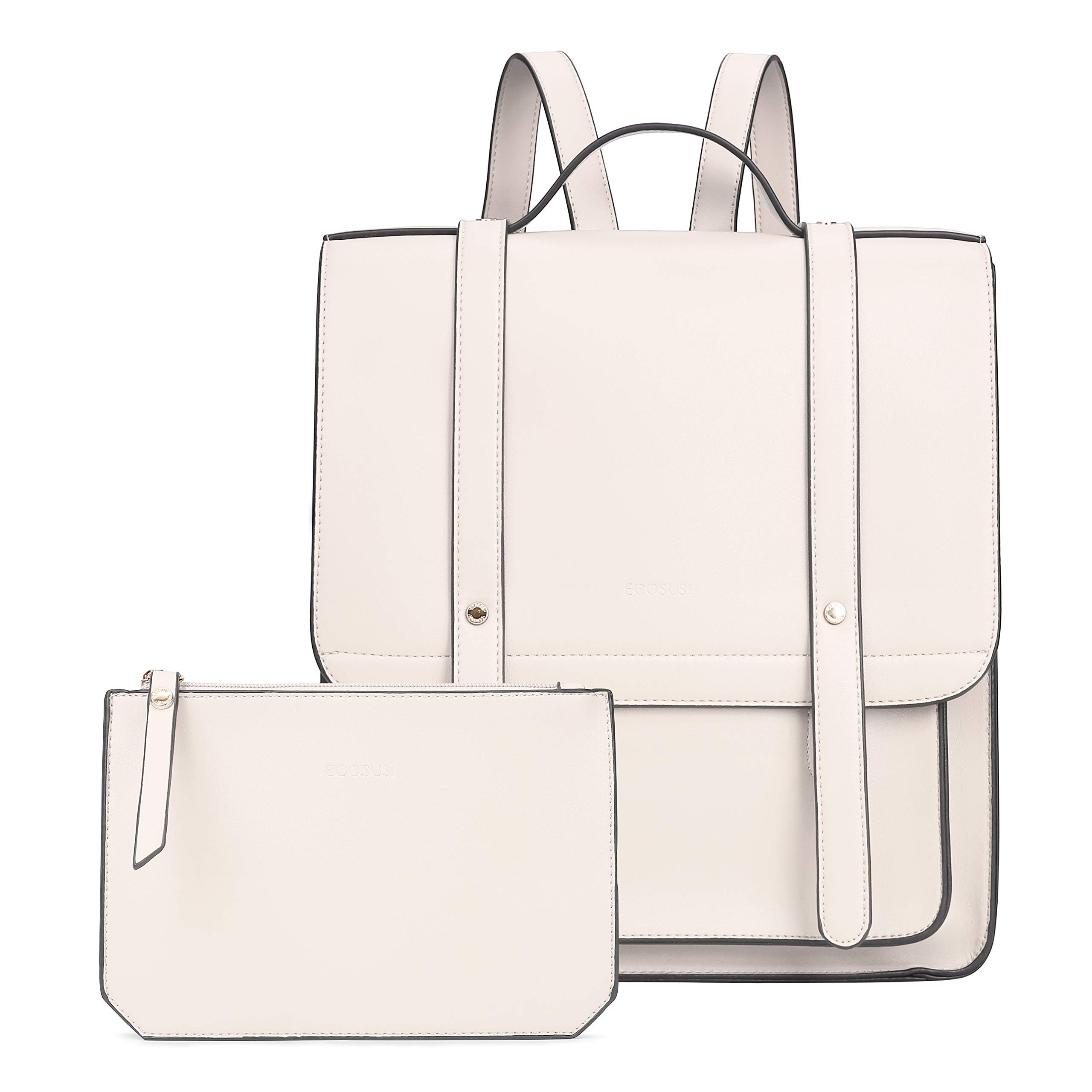 ECOSUSI Women Briefcase Laptop Backpack PU Leather Satchel Messenger Bag Fits up to 14 Inch Laptops with Small Purse, White