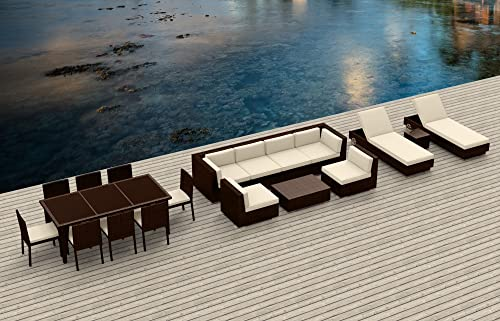 Urban Furnishing.net – Brown Series 19 Piece Outdoor Dining and Sofa Sectional Patio Furniture Set