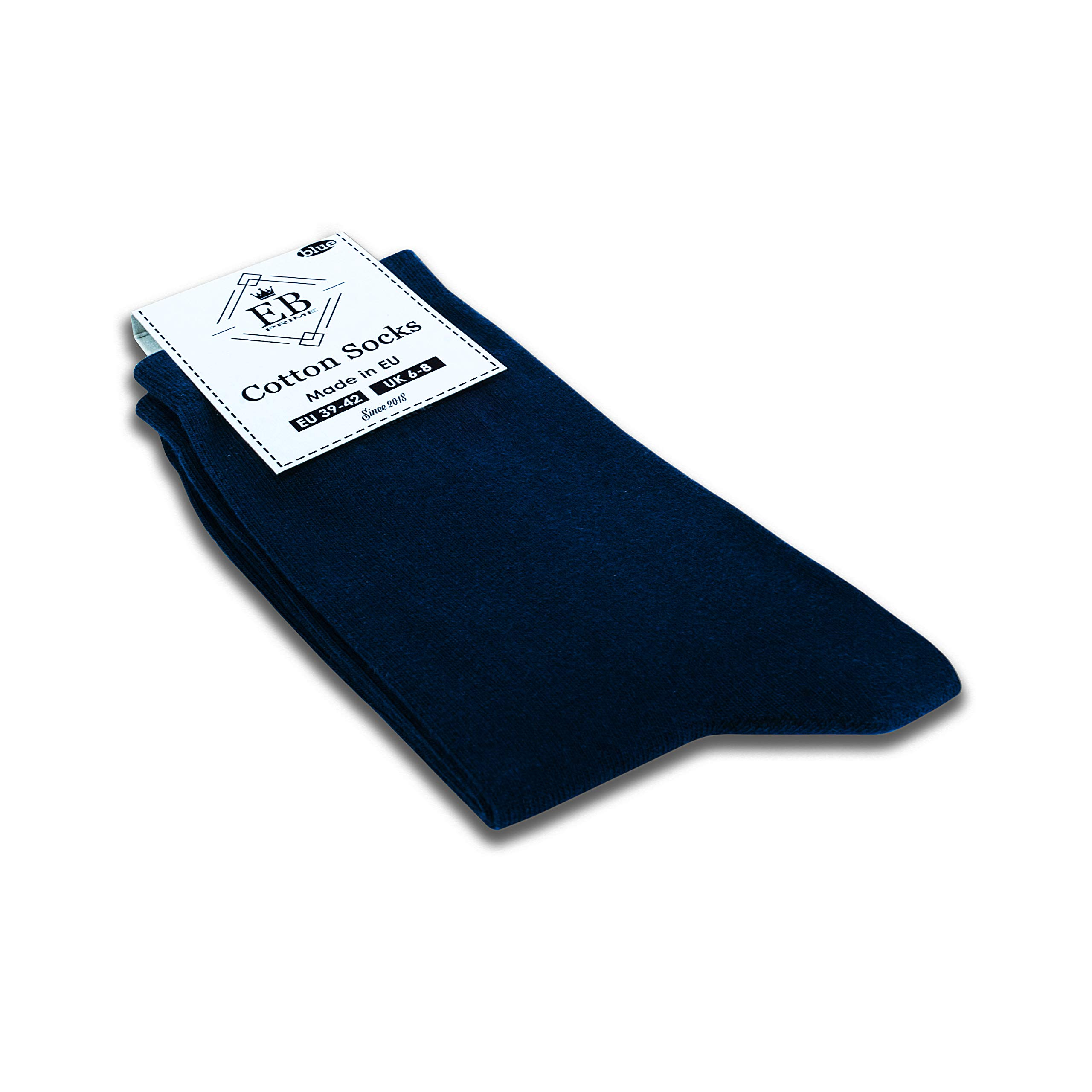 EB Prime Cotton Socks for Men and Women, 6 Pairs, Size UK 6-8, Business Socks, Blue, Classic Socks, Comfortable, Breathable, Best quality for long durability, Made in the EU.