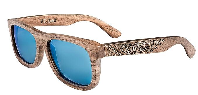 Flotantes gafas de sol de madera Wicked Ceres | nuez | Grabó diseño tribal Incl tirón