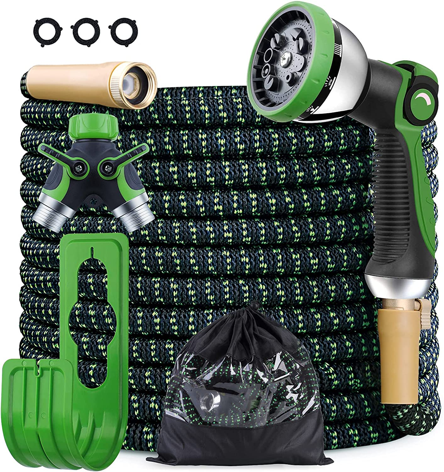 COFUNX Garden Hose,50ft Expandable Water Hose Kit with 2-Way Splitter &10 Function Zinc Spray Nozzle, Upgraded Anti-Leakage System, 3750D Fabric No-kink Flexibility Hose with 4-Layers Latex (50)