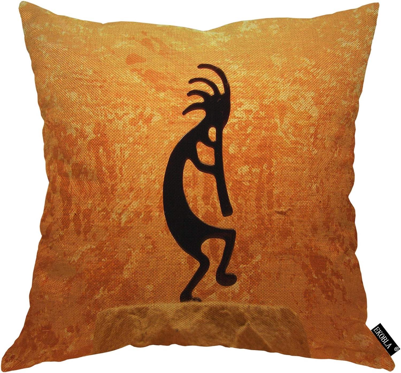 EKOBLA Kokopelli Statue Throw Pillow Cover American Grunge Native Orange Background Music Cozy Square Cushion Case for Men Women Boys Girls Room Home Decor Cotton Linen 18x18 Inch
