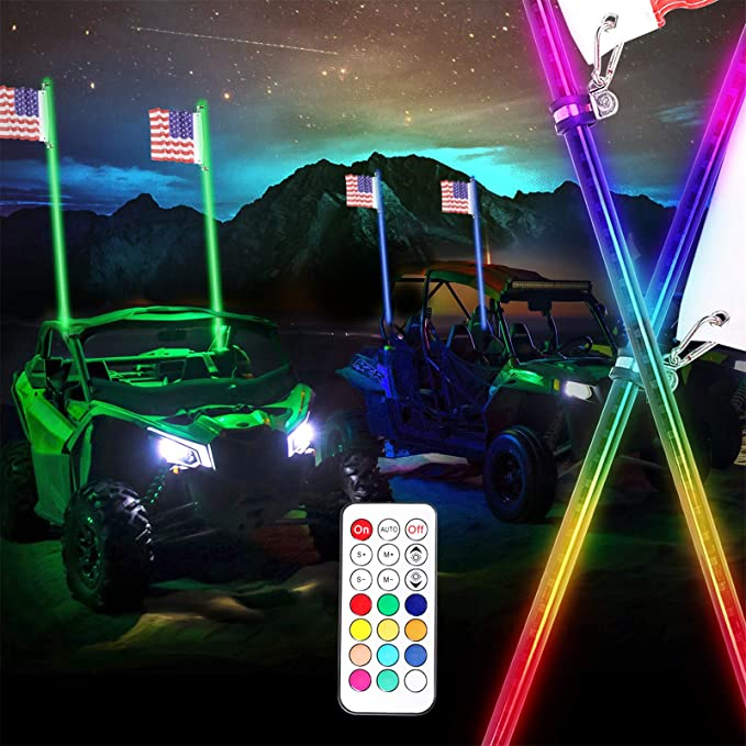 2pc CTWHAUTO 3ft Dancing LED Whip Lights With Brake Light Turn Signal Controlled by Remote and App for ATV UTV RZR Off Road Polaris Trucks Dunes