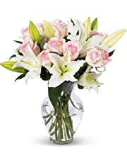 Benchmark Bouquets Light Pink Roses and White Oriental Lilies, With Vase (Fresh Cut Flowers)
