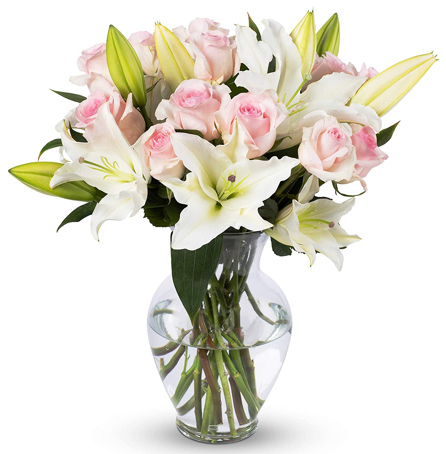 Amazon.com  Benchmark Bouquets Light Pink Roses and White Oriental Lilies With Vase (Fresh Cut Flowers)  Grocery \u0026 Gourmet Food  sc 1 st  Amazon.com & Amazon.com : Benchmark Bouquets Light Pink Roses and White Oriental ...