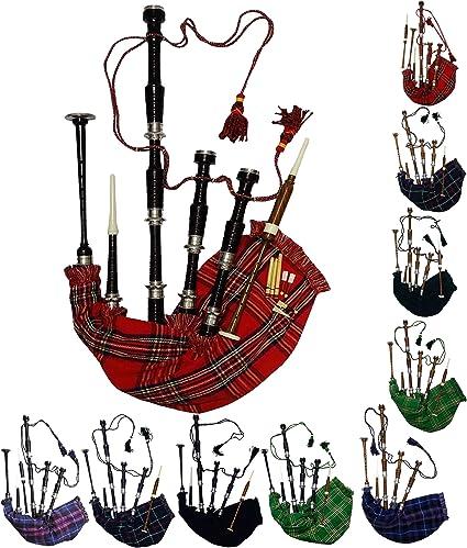 Aar Gaita Escocesa Palo de Rosa Tartán Royal Stewart Acabado en Negro con Plateado Pulido Montajes Gratis Tutor Book, Transporte Bolsa,Bordón, Lengüetas: Amazon.es: Instrumentos musicales