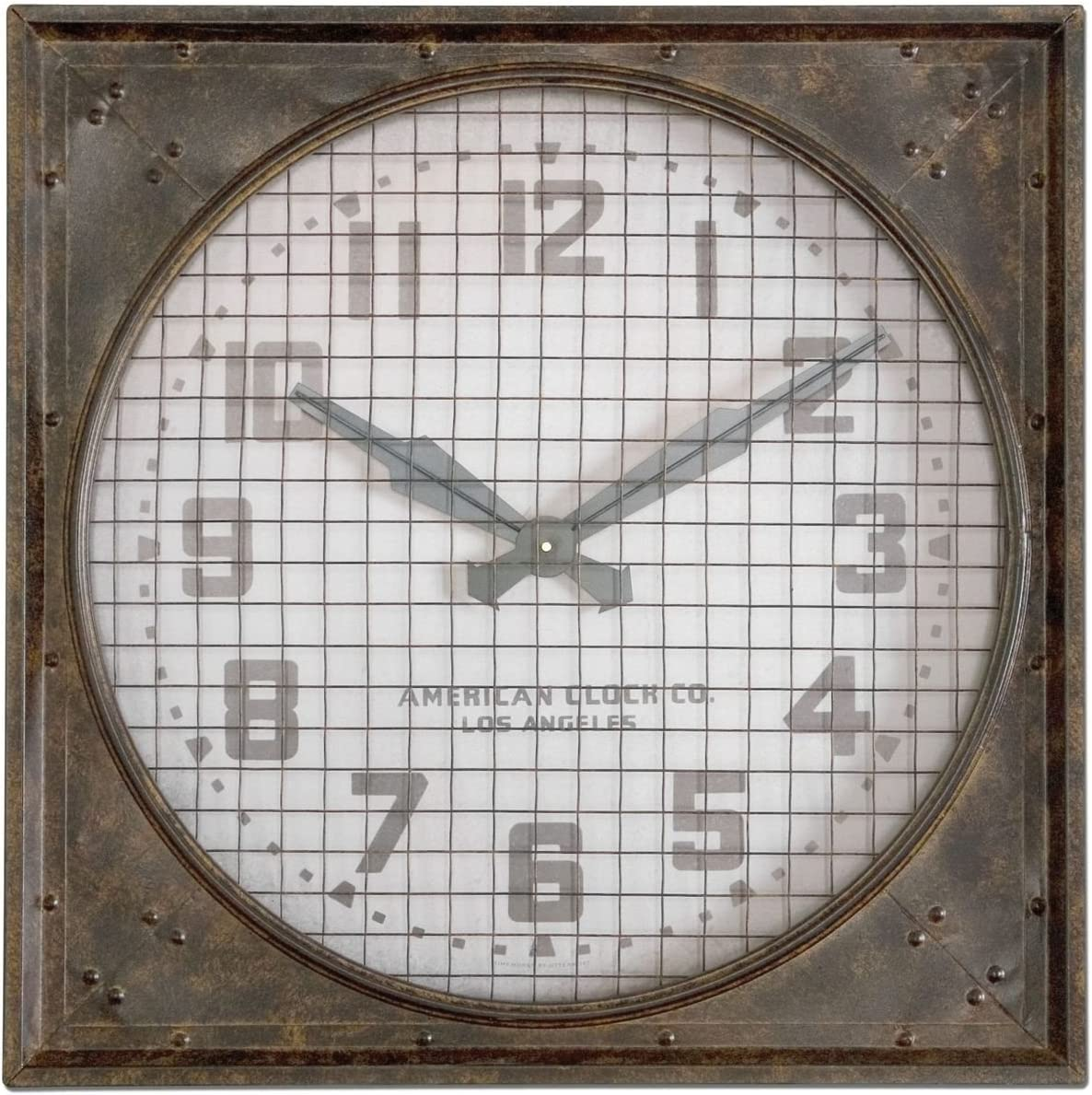 Intelligent Design Retro Industrial Metal Wall Clock Riveted Cage Grille Square Large