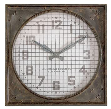 Retro Industrial Metal Wall Clock Riveted Cage Grille Square Large Extra  Clocks Uk Black