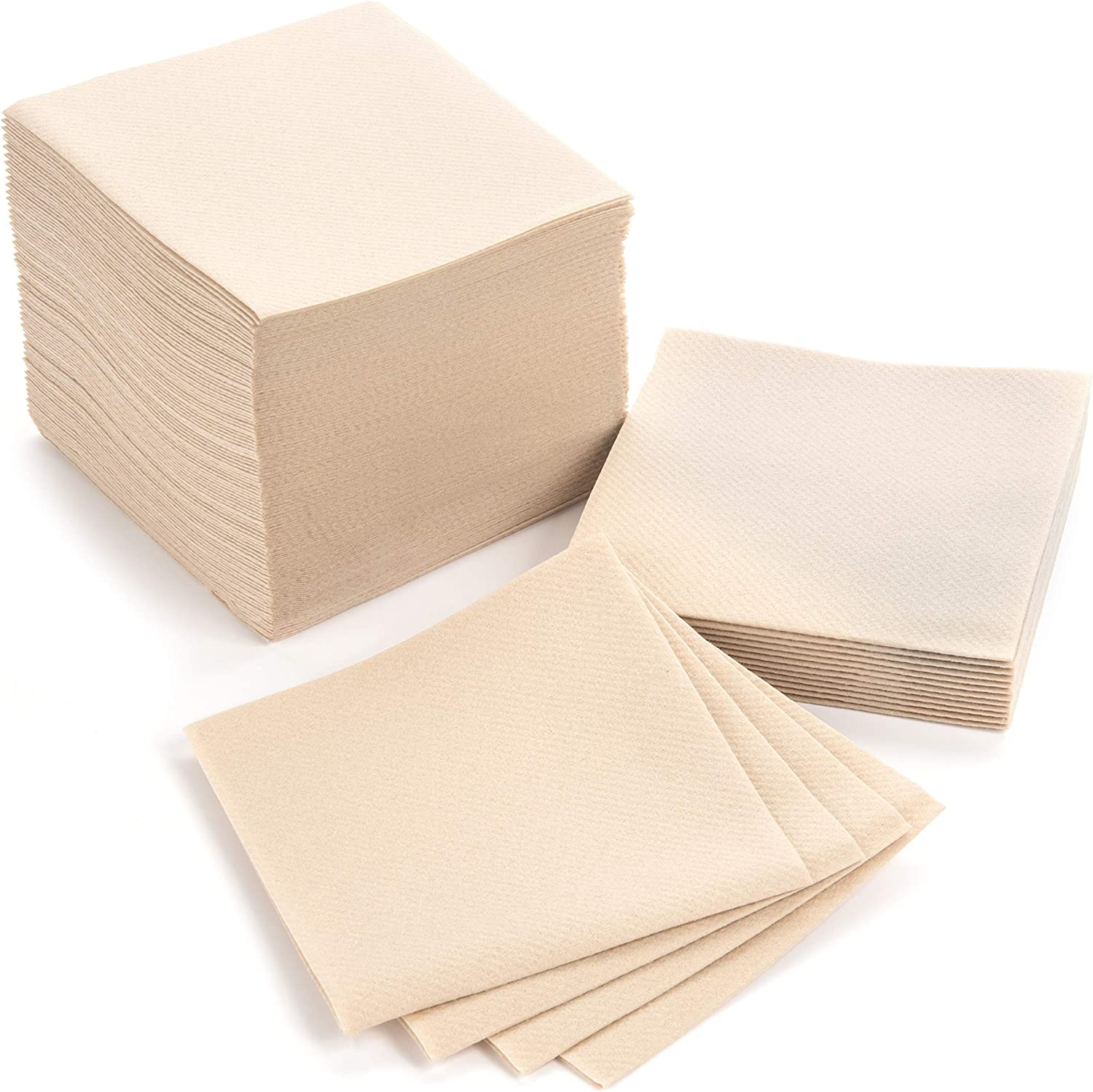 """American Homestead Cocktail Napkins - Small 4"""" x 4"""" Linen-Like Disposable Beverage/Bar Napkins - Bulk Square Napkins Eco-Friendly & Compostable - Everyday Use, Party or Wedding (100 Count, Sand)"""