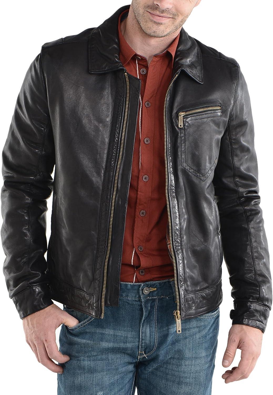 New Mens Genuine Lambskin Leather Slim Fit Biker Motorcycle Jacket for Men P052