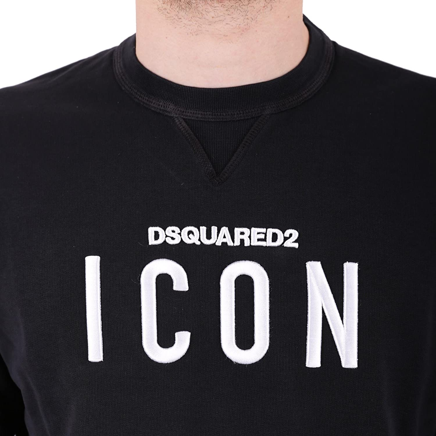 DSQUARED2 Felpa con Patch Icon Ricamato Nero Uomo S  Amazon.it   Abbigliamento 045e6f6bfbd