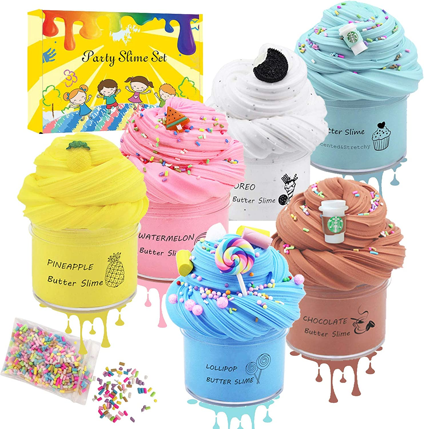 Dorothyworld 6 Pack Fluffy Butter Slime Scented, with Candy Slime, Oreo Slime, Latte Slime ,Pipeapple Slime, Watermelon Slime and Mint Slime, Super Soft and Non-Sticky, Birthday Gifts for Girls Boys