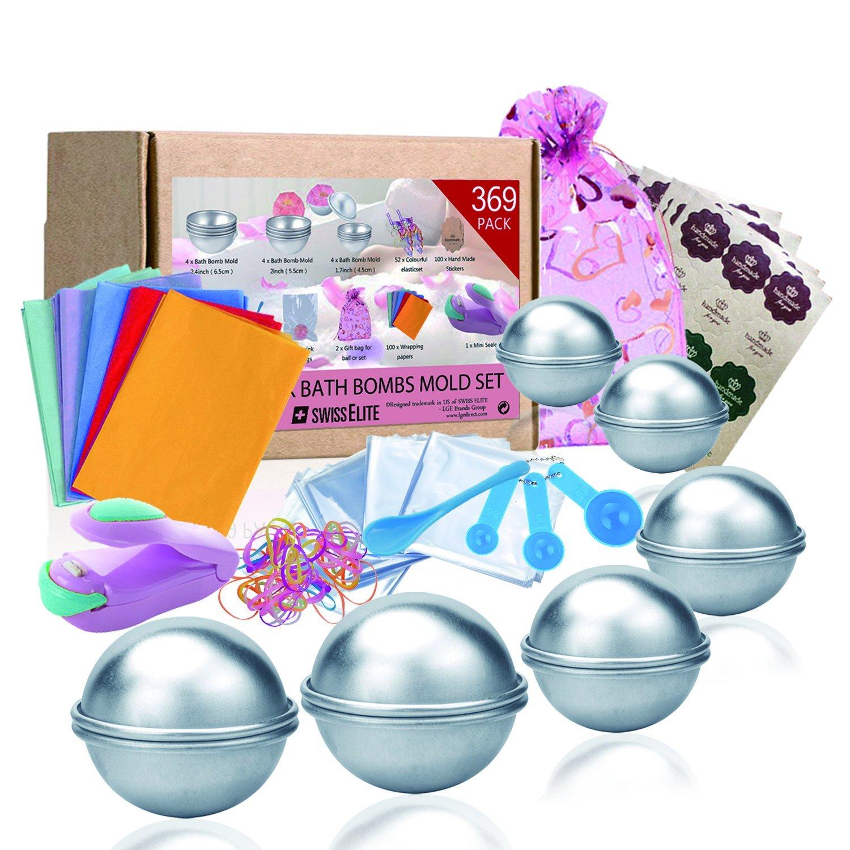 Bath Bomb Mold set,3/size DIY stampo ordito borse sacchetti regalo e cinturino in gomma set per creazione your own Fizzles by Swisselite 369 Pack cucchiai