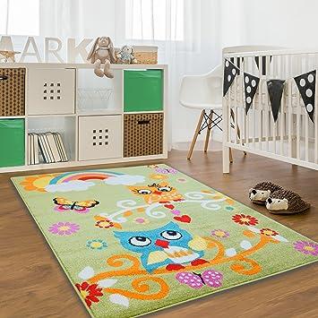 Kinderteppich eule grün  Kinder Teppich Moda Öko Tex Eule grün bunt verschiedene Größen ...