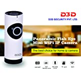 D3D Wireless Fisheye Vision 180° Panoramic IP Camera CCTV Security Home Surveillance Camera (support upto 128 GB SD card) (white Color)