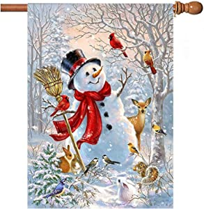 Christmas Snowman Cardinal Garden Flag 28x40 inch Double Sided Decorative Xmas Trees New Year SnowHouse Yard Flags for Spring Summer Garden Yard Outdoor Indoor Lawn Farmhouse Outside Decoration