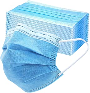 50PCS Disposable Face 3 Layer Anti-Dust Earloops Protective Cover Mask(Blue)