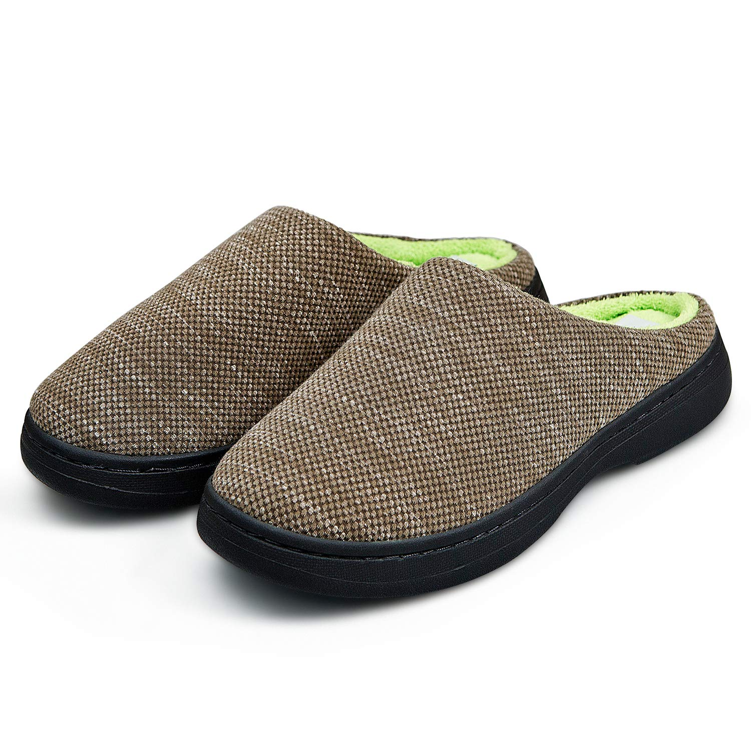 BABAYA Mens Fabric Memory Foam Anti-Slip House Slippers Autumn Winter Breathable Indoor Shoes