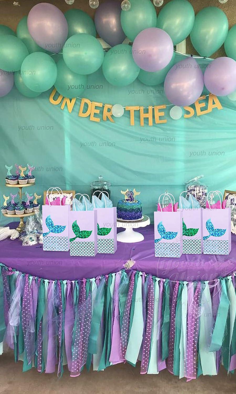 YouthUnion Bolsa Regalo Sirena Papel, 12Pcs Mermaid Fiesta Party Mar Recuerdos de Boda Niñas Infantil Brillante Dorado Bronceado (Verde+Azul)