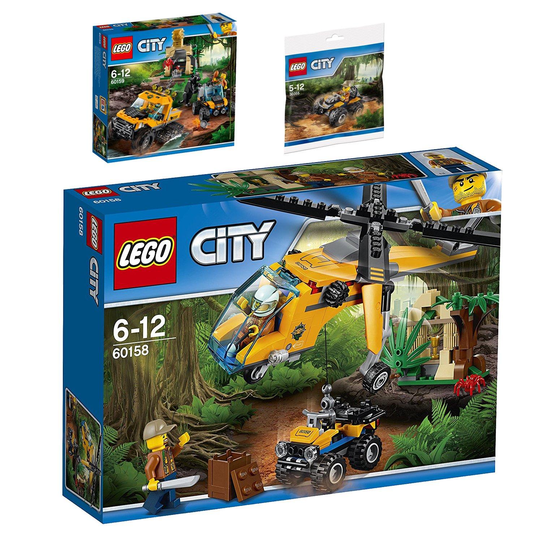 Lego CITY 3er Set 60159 60159 60159 60158 30355 Mission mit dem Dschungel-Halbkettenfahrzeug + Dschungel-QuadDschungel-Frachthubschrauber 15e1d5