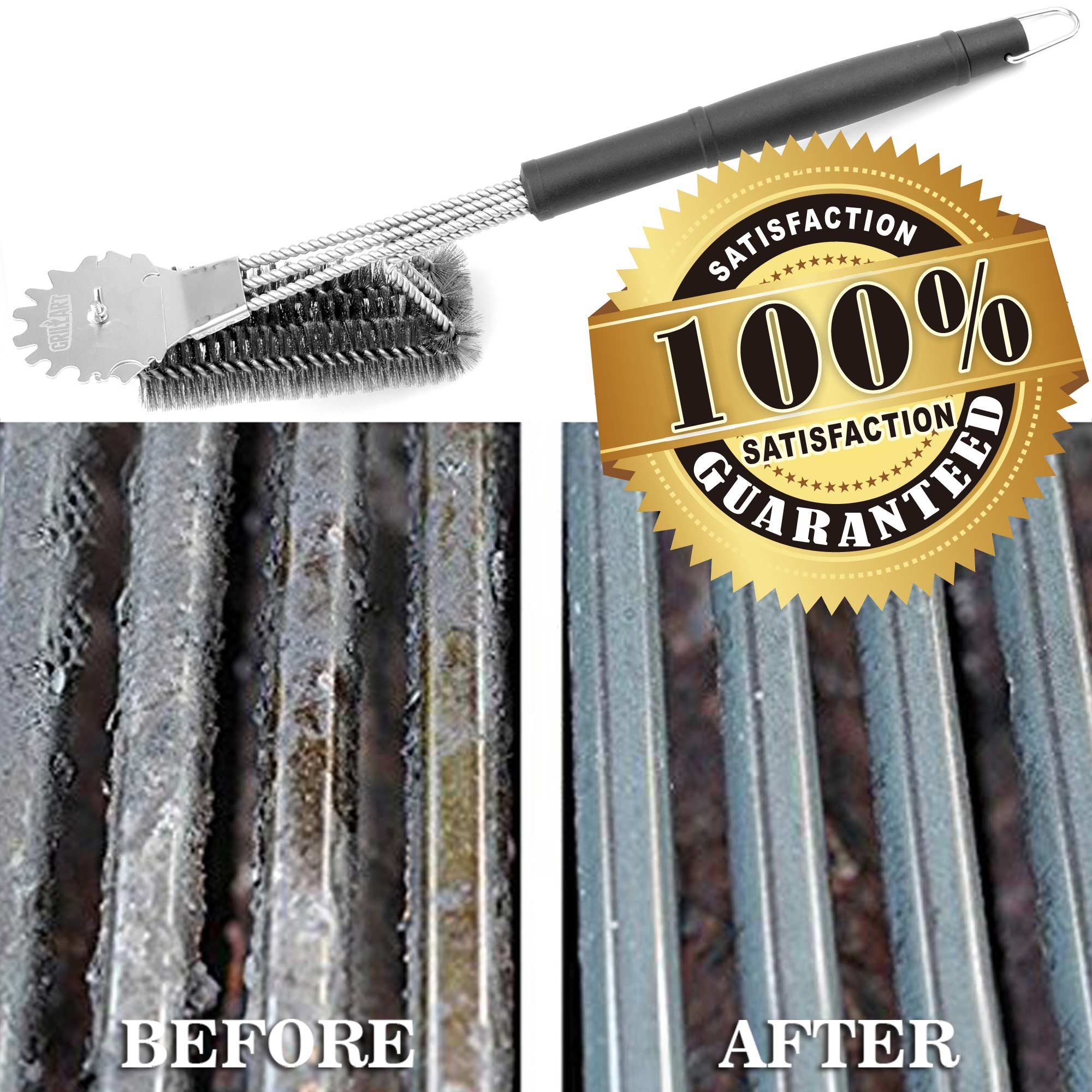Grill Brush and Scraper Universal Fit - Adjustable BBQ Grill Accessories Cleaning Kit - 12 Grooves Safe 18'' Stainless Steel Barbecue Grill Cleaner Wizard Tools for Weber Gas/Charcoal Grilling Grates by GriIIArt (Image #7)
