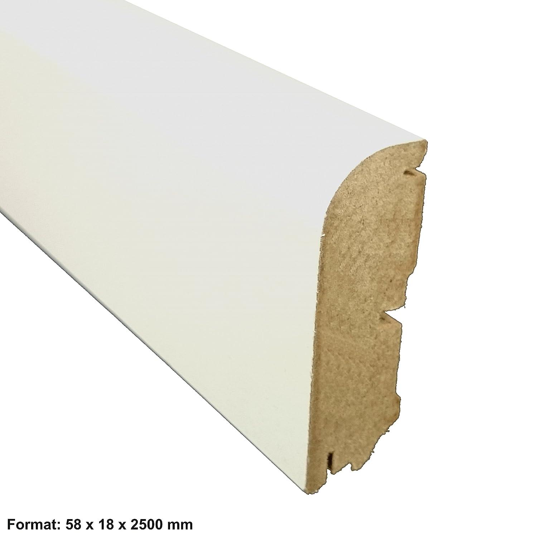 MDF Tr/ägermaterial L/änge 2.5m Classic Profil abgerundete Form 18x58 mm ✓Kabelkanal ✓weisse Oberfl/äche TRECOR/® Sockelleiste wei/ß 58 mm hoch
