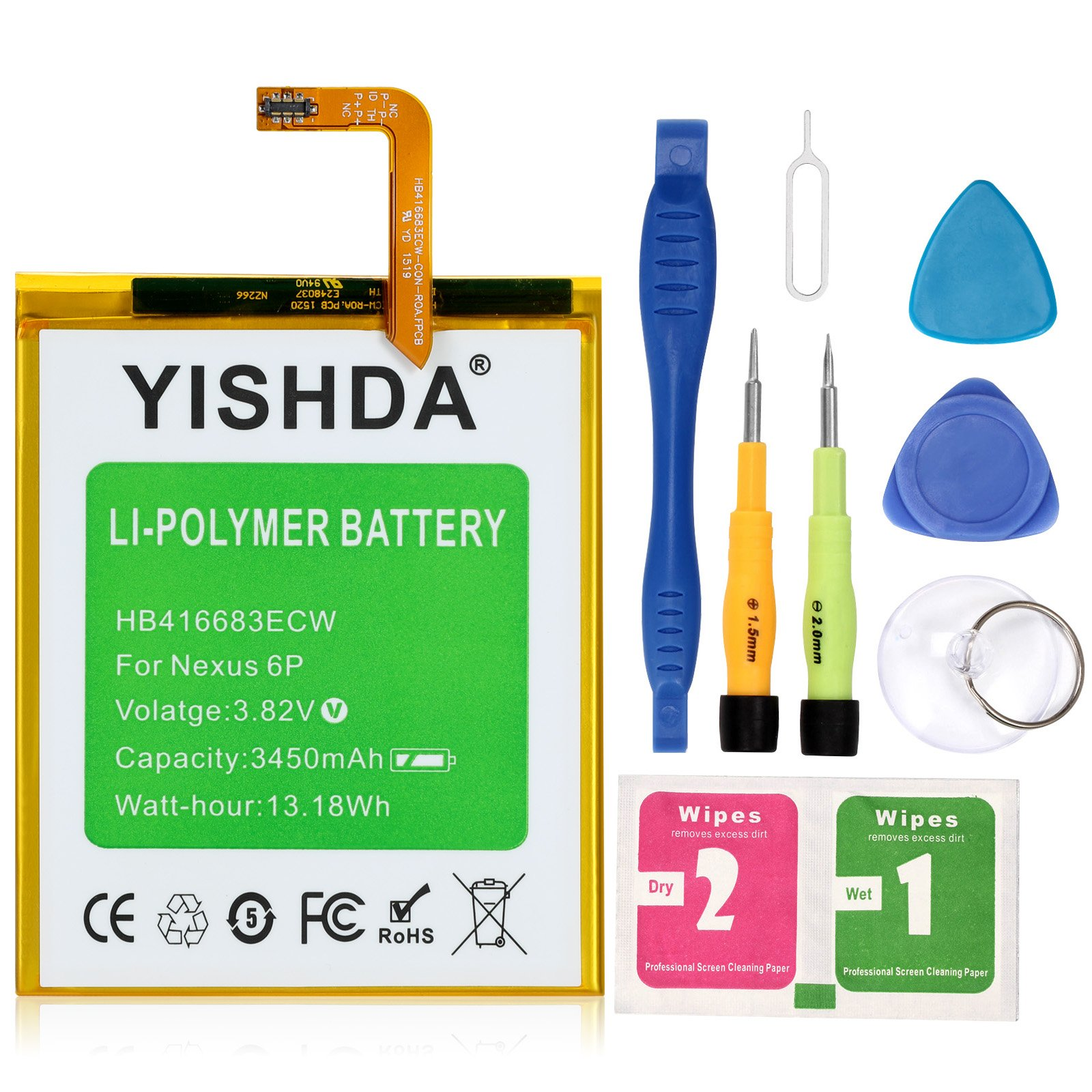 YISHDA Nexus 6P Battery 3450mAh Replacement HB416683ECW Battery for Huawei Google Nexus 6P H1511 H1512 with Tools | Huawei Google Nexus 6p Battery Kit [18 Month Warranty]