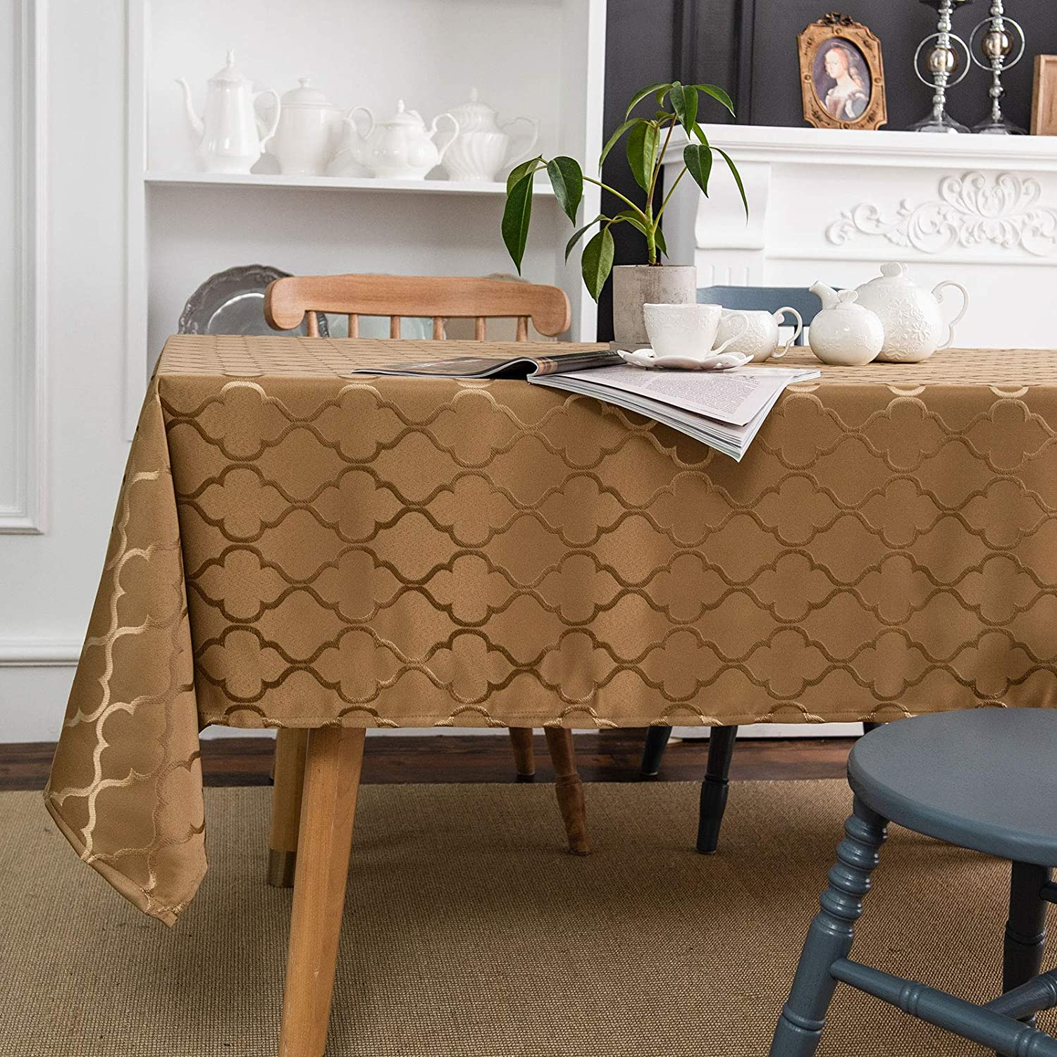 Melodieux Moroccan Jacquard Tablecloth Geometric Table Cover Spill Oil Dusty Proof Water Wrinkle Resistant for Kitchen Dining Room Tabletop Decoration, Rectangle, 60
