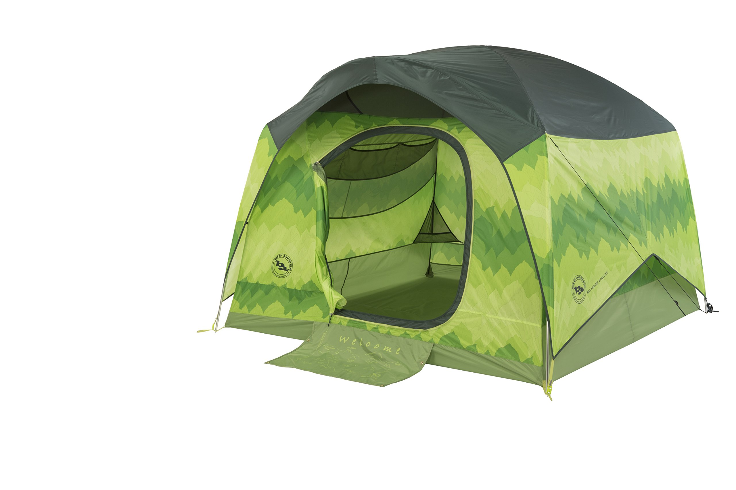 Big Agnes Big House Deluxe Camping Tent, Green Leaf, 4 Person