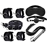 Fetish Bondage Restraints Mouth Gag, Floggers, Eyemask,Handcuffs and Anklestraint Set with Adjustab Cuffs Rele Strap (Black)