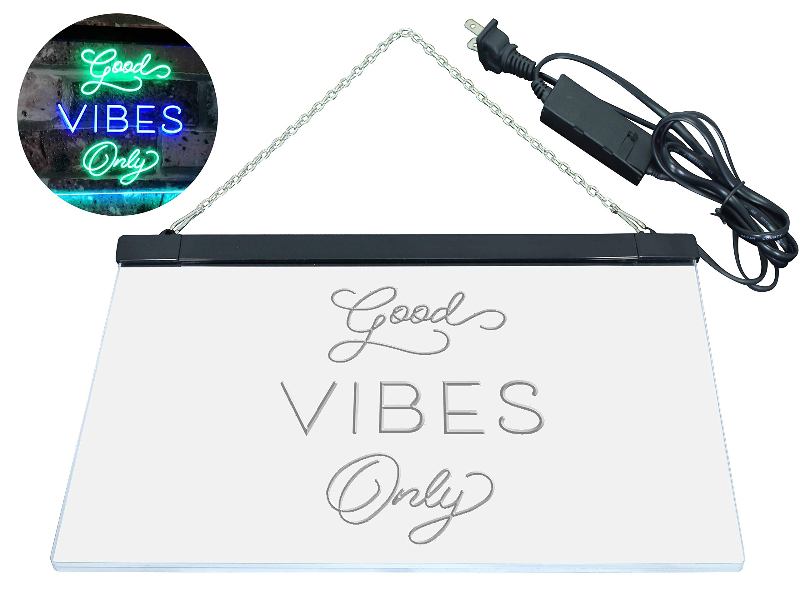 AdvpPro 2C Good Vibes Only Home Bar Disco Room Display Dual Color LED Neon Sign Green & Blue 12'' x 8.5'' st6s32-i3076-gb