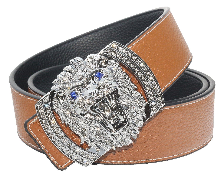 QHA Mens Womens Designer Lion Diamond Luxury Leather Belt