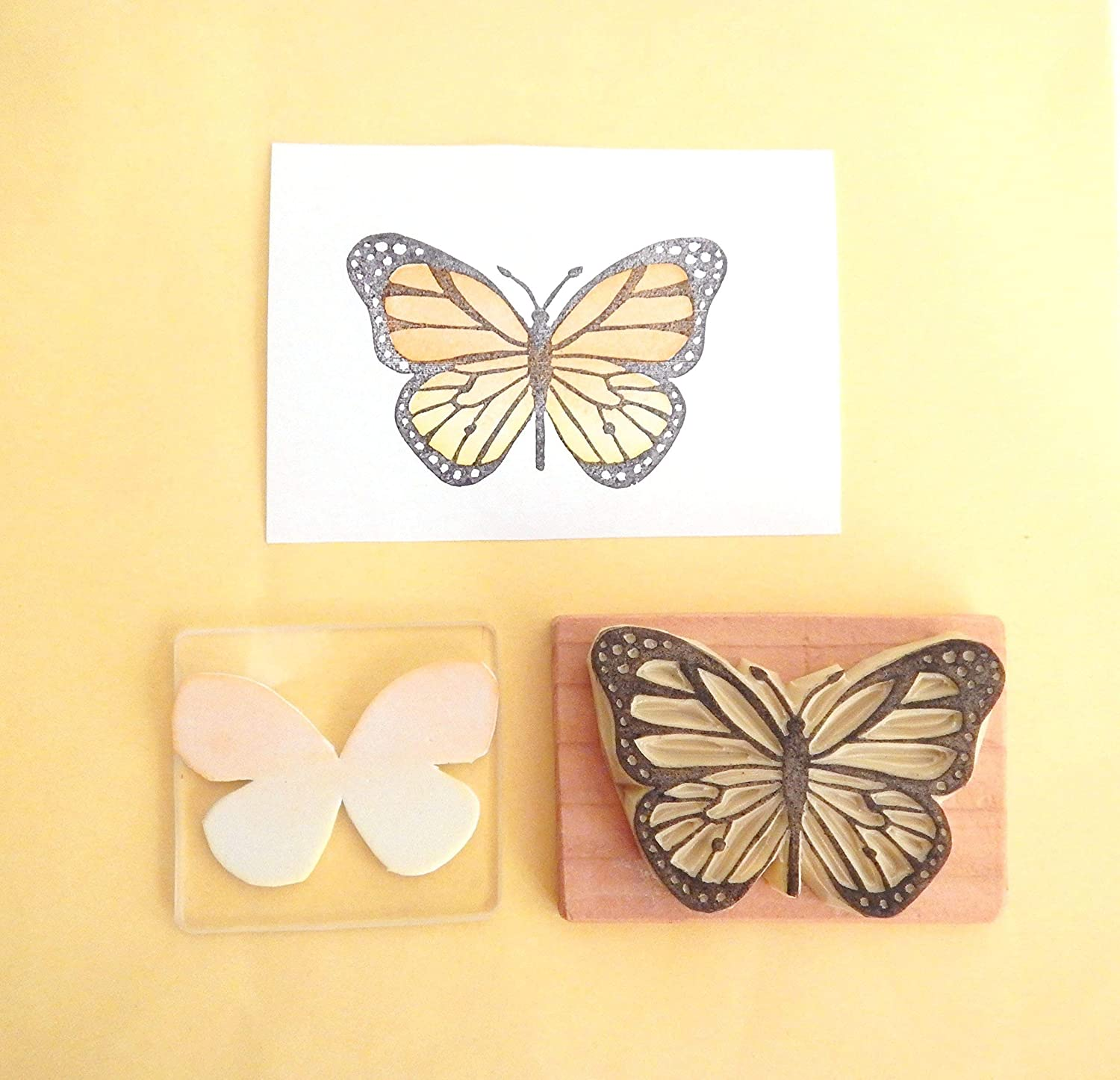 Butterfly 3 - Hand carved rubber stamp set